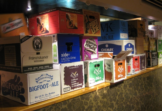 Beer cartons in the pub.